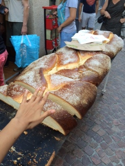 Possibly the largest loaf (?) of bread I've ever seen, at Figeac market.